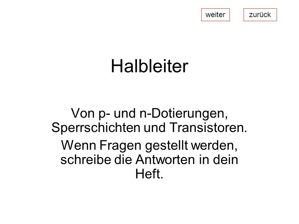 Halbleiter Von p- und n-Dotierungen, Sperrschichten und Transistoren.
