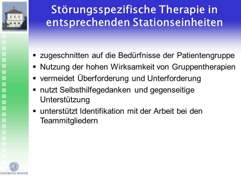 Störungsspezifische Therapie in entsprechenden Stationseinheiten