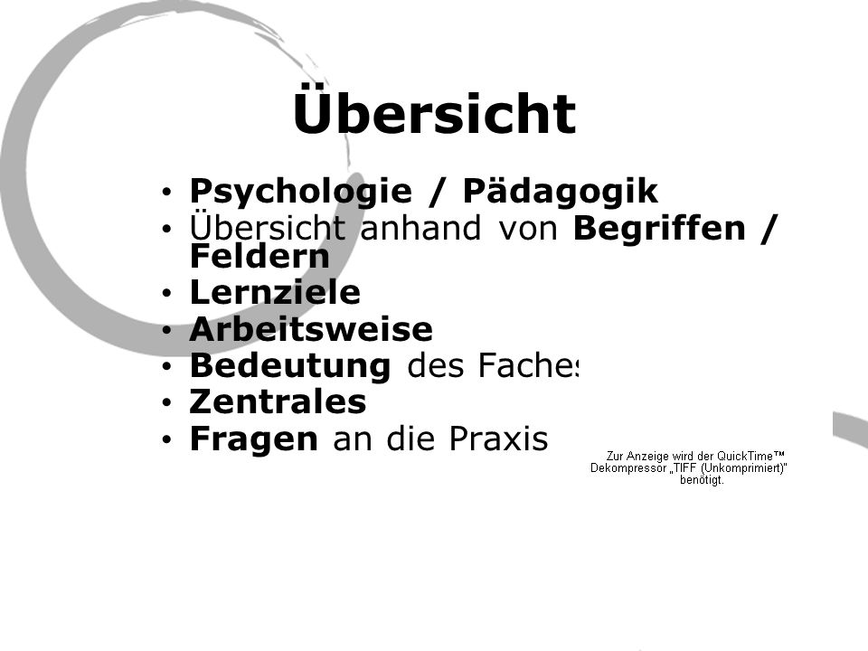 Übersicht Psychologie / Pädagogik