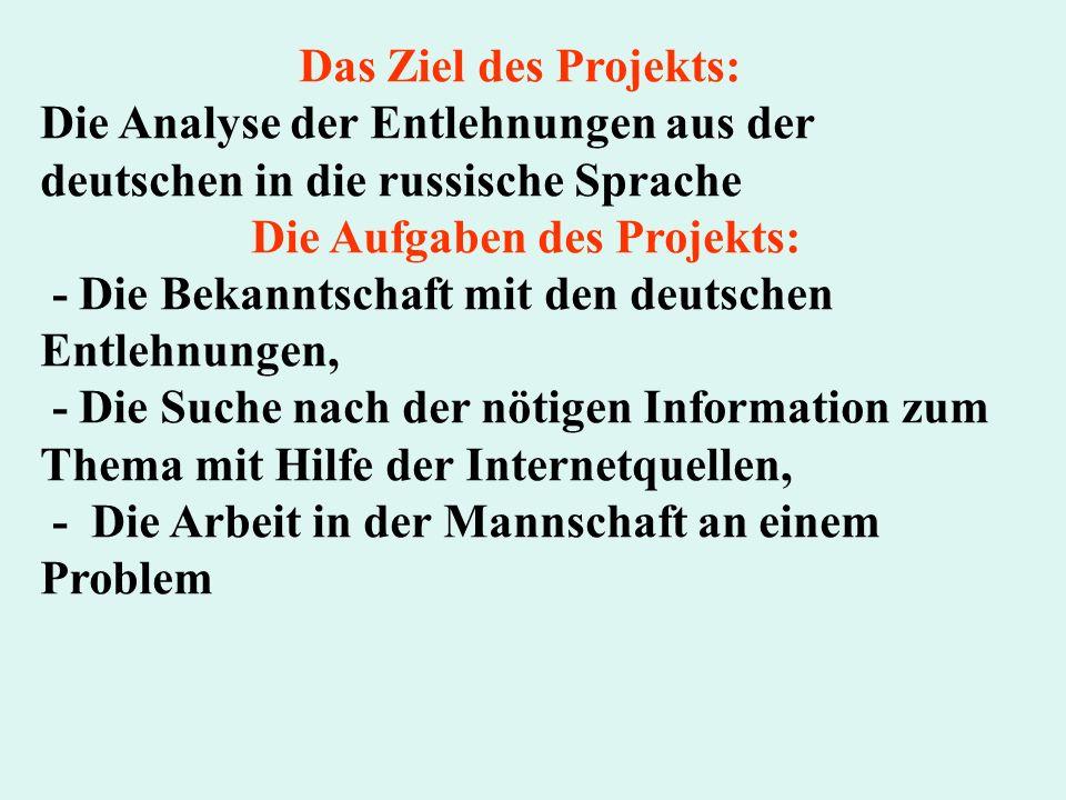 Die Aufgaben des Projekts: