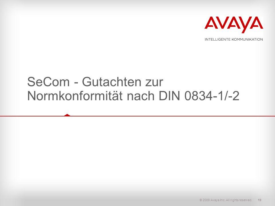 SeCom - Gutachten zur Normkonformität nach DIN 0834-1/-2