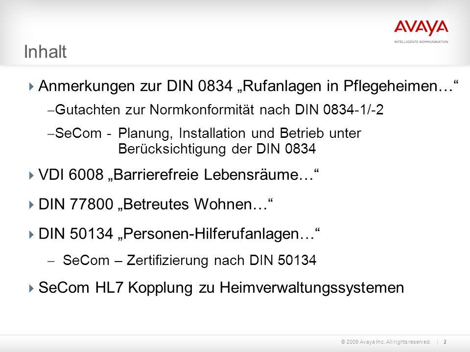 """Inhalt Anmerkungen zur DIN 0834 """"Rufanlagen in Pflegeheimen…"""