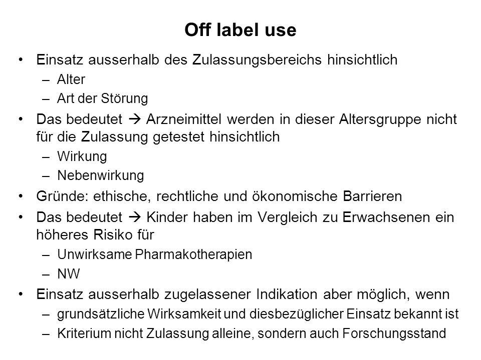 Off label use Einsatz ausserhalb des Zulassungsbereichs hinsichtlich