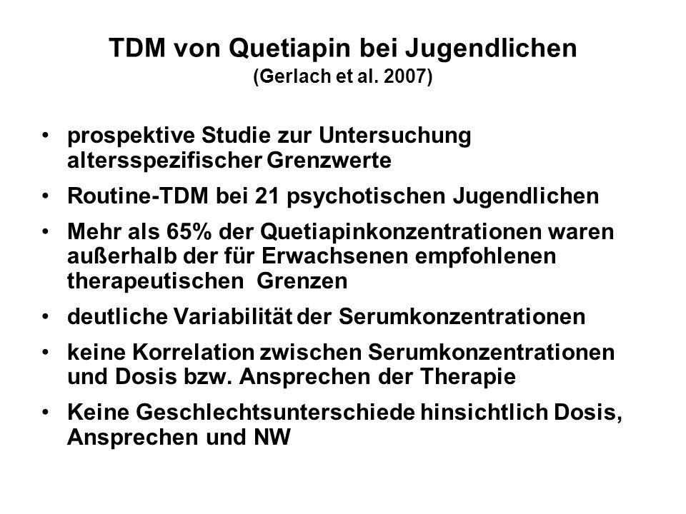 TDM von Quetiapin bei Jugendlichen (Gerlach et al. 2007)