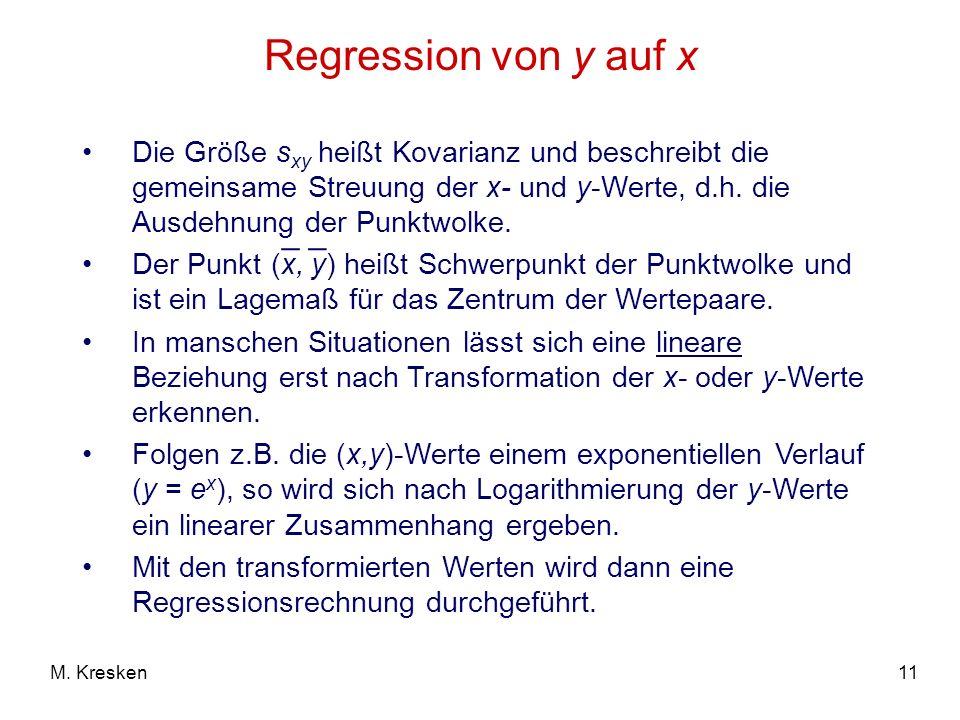 Regression von y auf x _ _