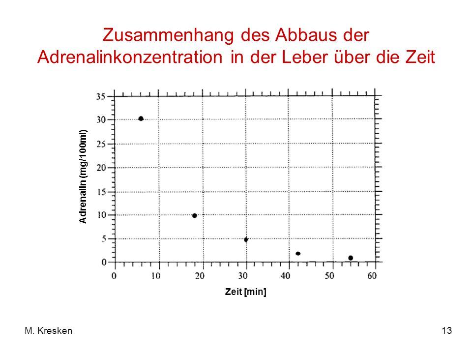 Zusammenhang des Abbaus der Adrenalinkonzentration in der Leber über die Zeit