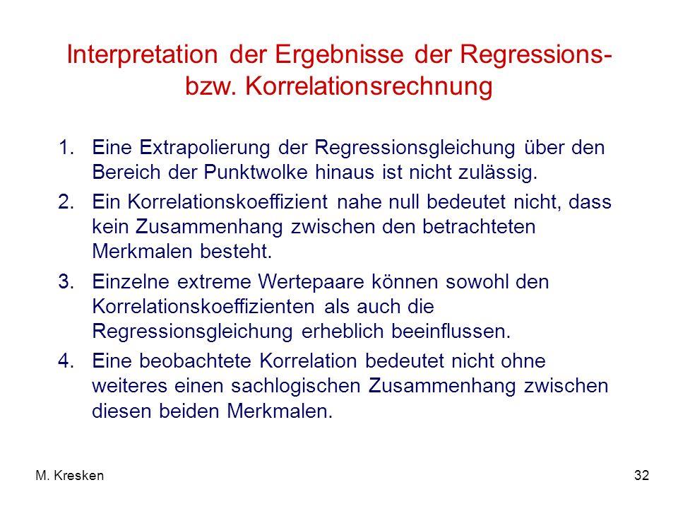 Interpretation der Ergebnisse der Regressions- bzw
