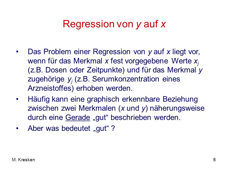 Regression von y auf x