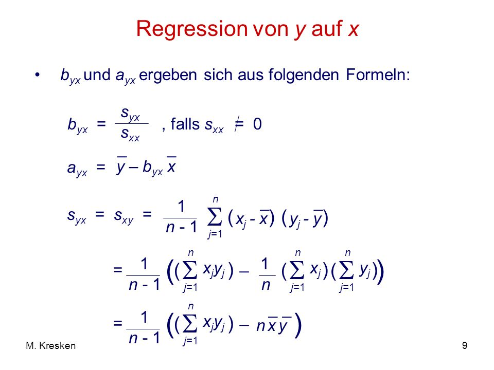     ( ) (  Regression von y auf x ( ) ( ) ( ) ( ) ( ) )