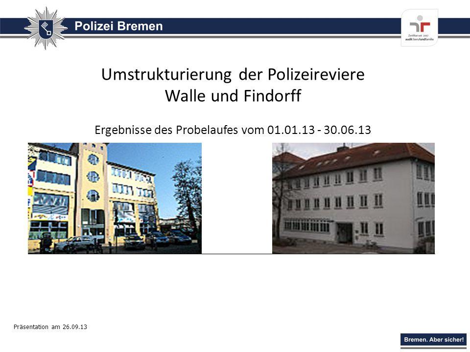Umstrukturierung der Polizeireviere Walle und Findorff
