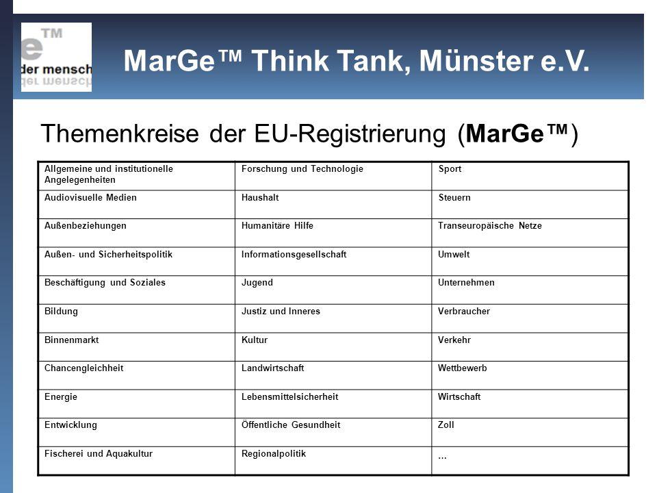Themenkreise der EU-Registrierung (MarGe™)