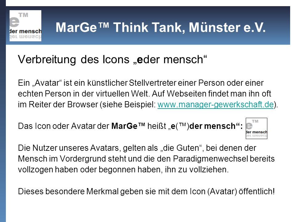 MarGe™ Think Tank, Münster e.V.