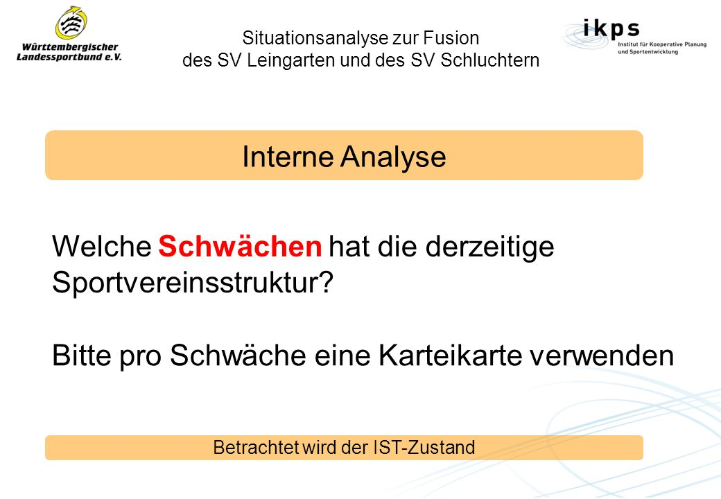 Situationsanalyse zur Fusion des SV Leingarten und des SV Schluchtern