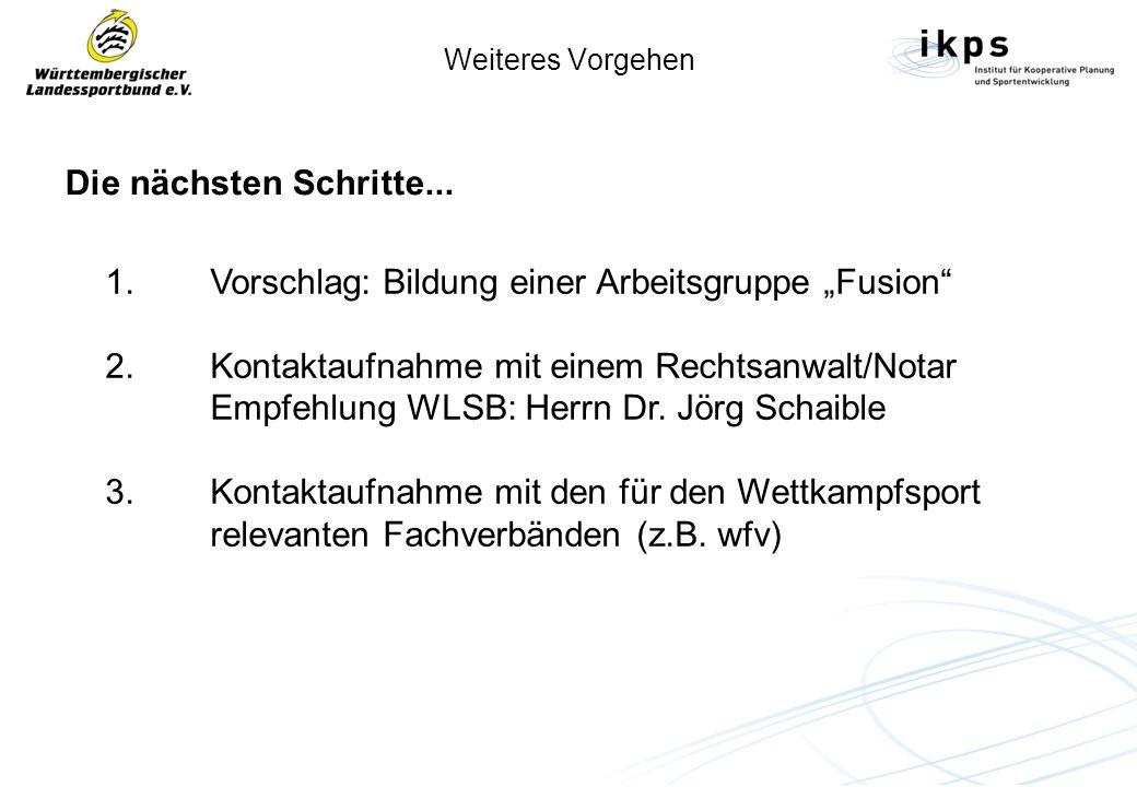 """1. Vorschlag: Bildung einer Arbeitsgruppe """"Fusion"""