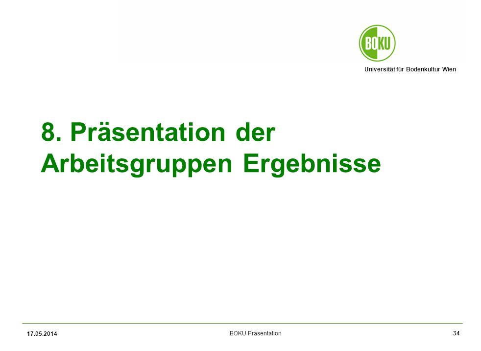 8. Präsentation der Arbeitsgruppen Ergebnisse