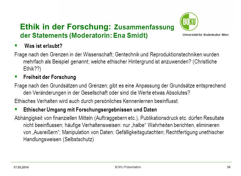 Ethik in der Forschung: Zusammenfassung der Statements (Moderatorin: Ena Smidt)