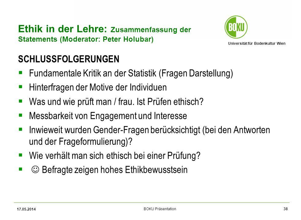 Ethik in der Lehre: Zusammenfassung der Statements (Moderator: Peter Holubar)