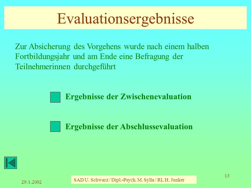 Evaluationsergebnisse