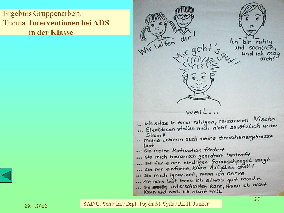 Ergebnis Gruppenarbeit. Thema: Interventionen bei ADS in der Klasse