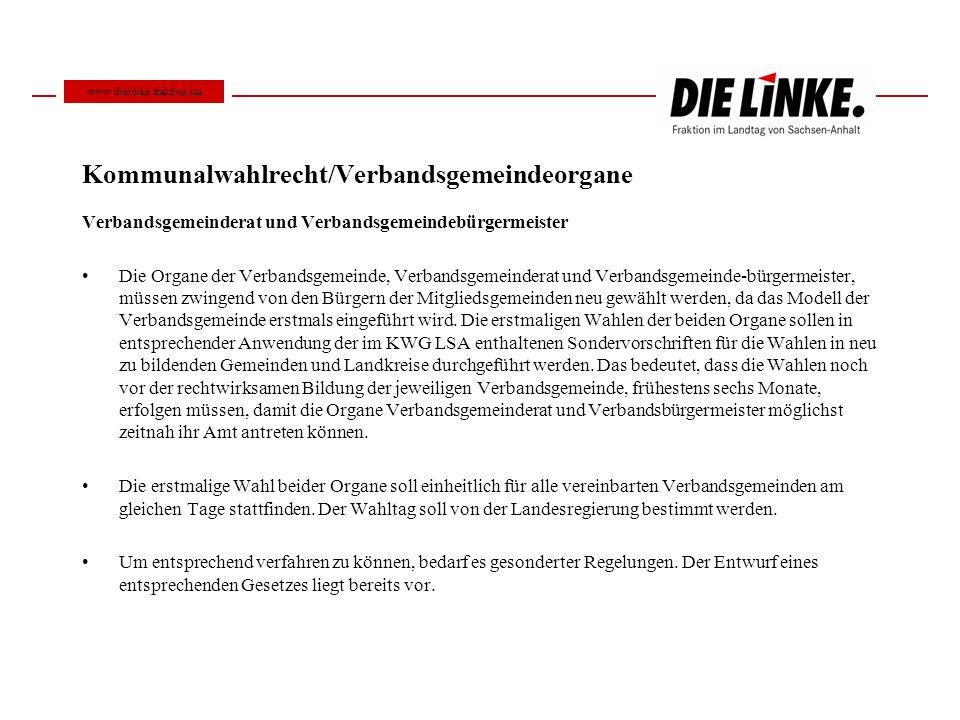 Kommunalwahlrecht/Verbandsgemeindeorgane