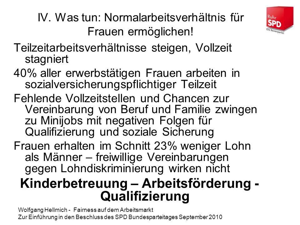IV. Was tun: Normalarbeitsverhältnis für Frauen ermöglichen!