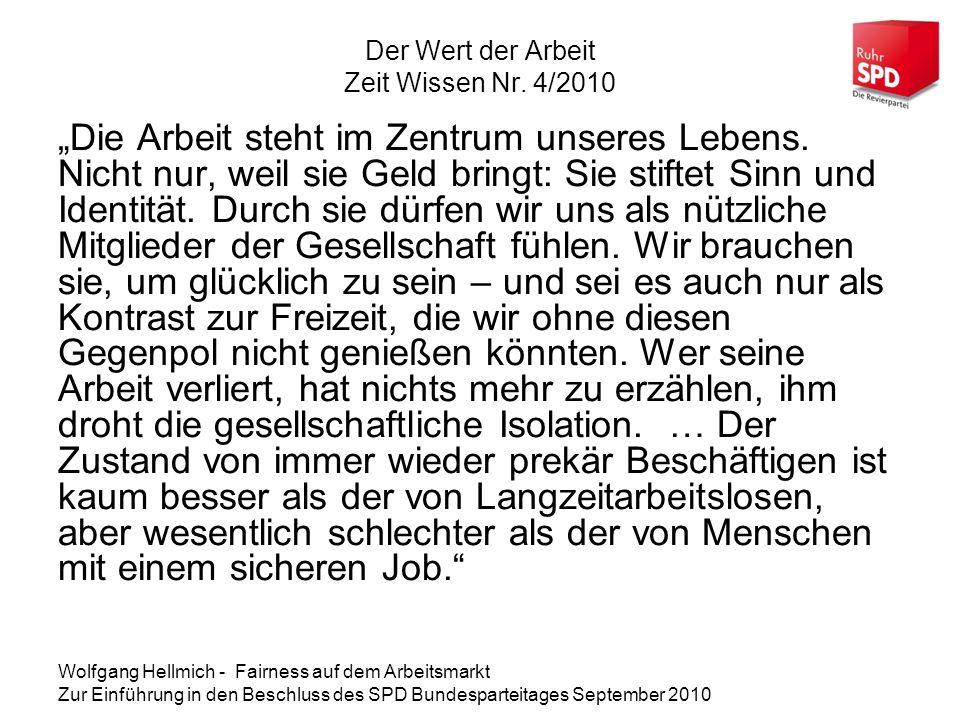 Der Wert der Arbeit Zeit Wissen Nr. 4/2010