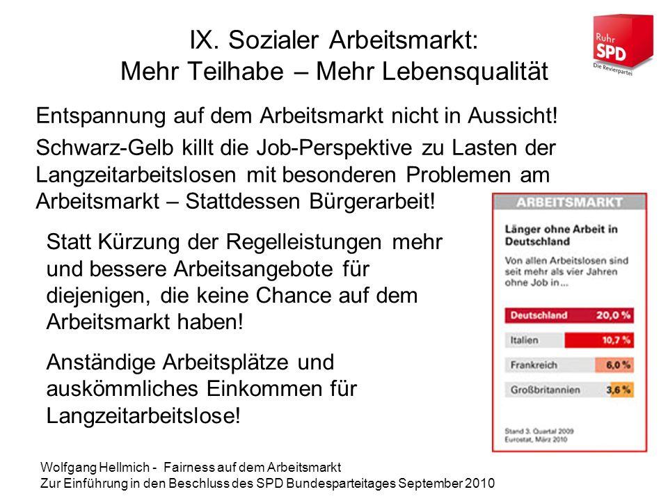 IX. Sozialer Arbeitsmarkt: Mehr Teilhabe – Mehr Lebensqualität