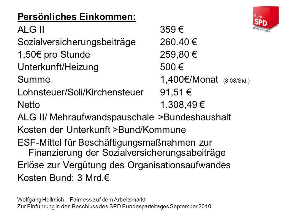 Persönliches Einkommen: ALG II 359 €