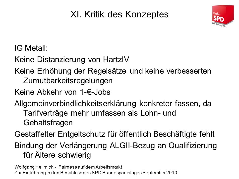 XI. Kritik des Konzeptes