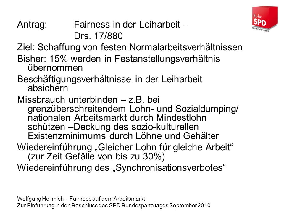 Antrag: Fairness in der Leiharbeit – Drs. 17/880