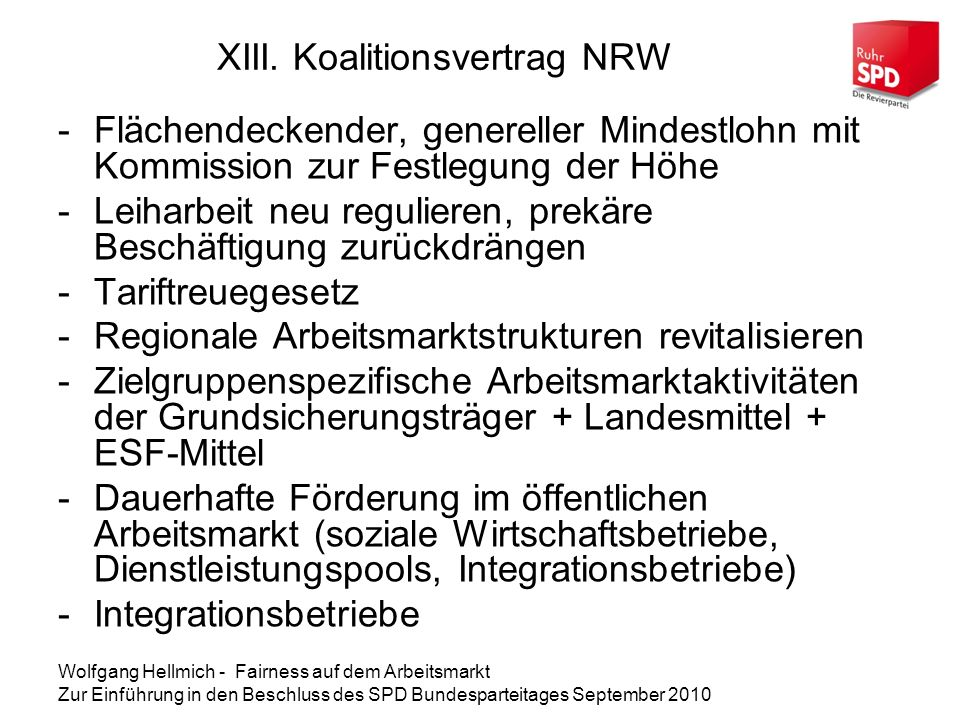 XIII. Koalitionsvertrag NRW