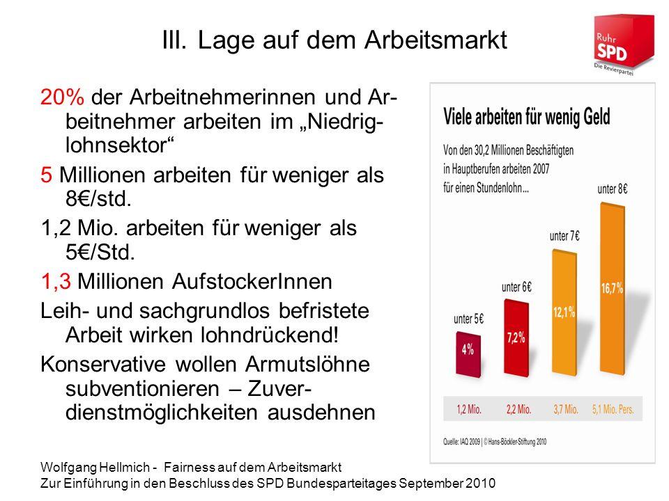 III. Lage auf dem Arbeitsmarkt