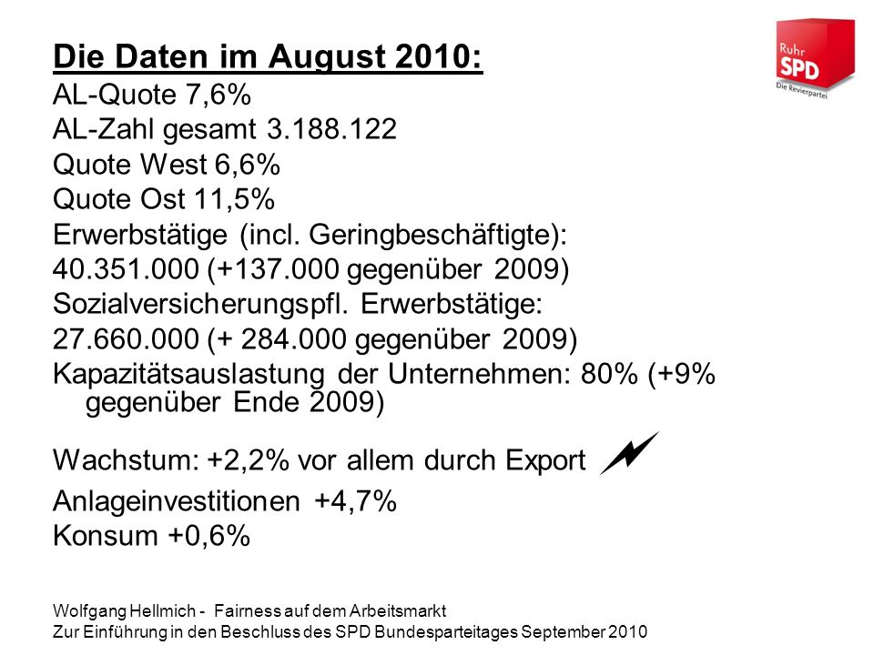 Die Daten im August 2010: AL-Quote 7,6% AL-Zahl gesamt 3.188.122