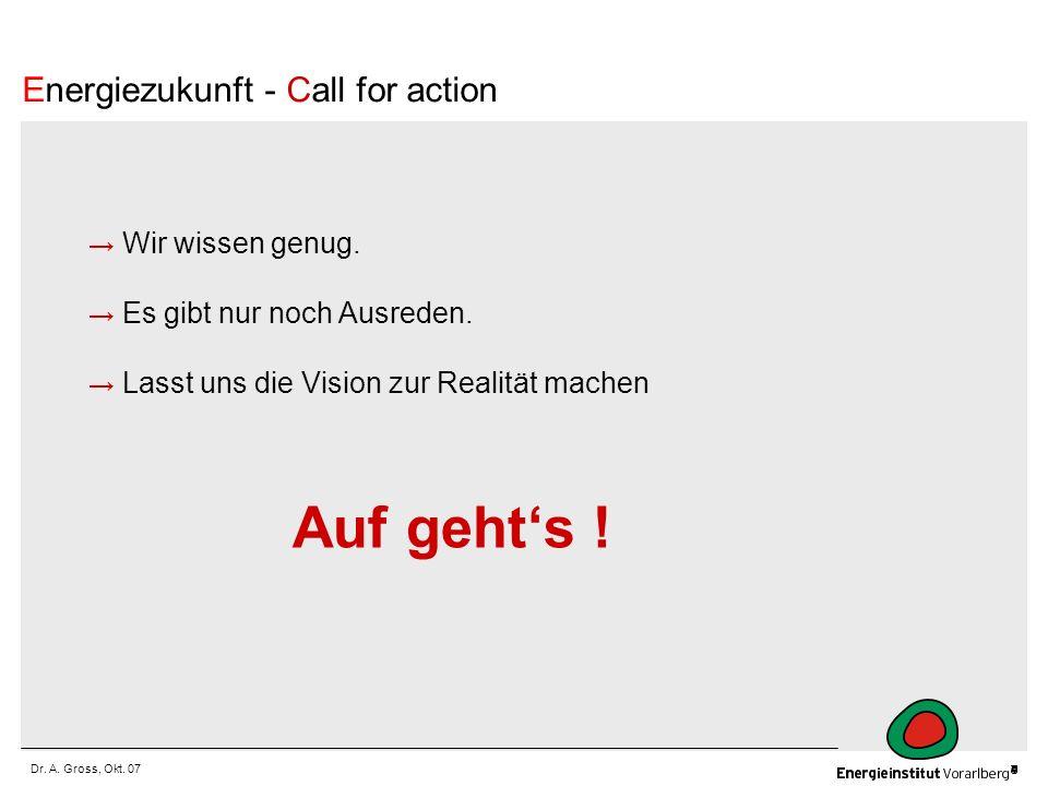 Auf geht's ! Energiezukunft - Call for action → Wir wissen genug.