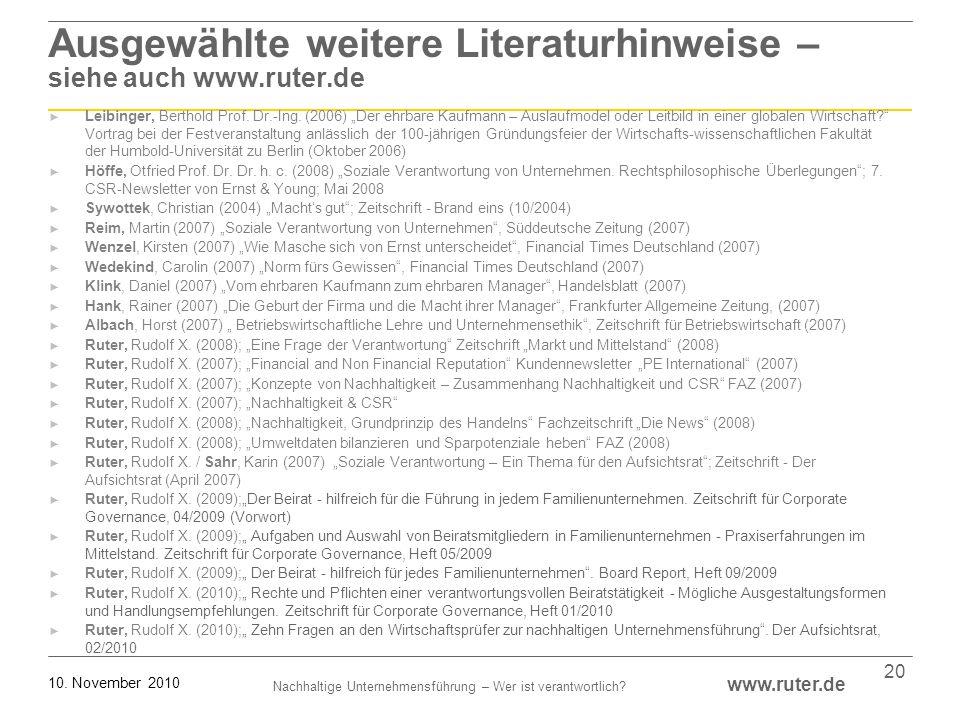 Ausgewählte weitere Literaturhinweise – siehe auch www.ruter.de