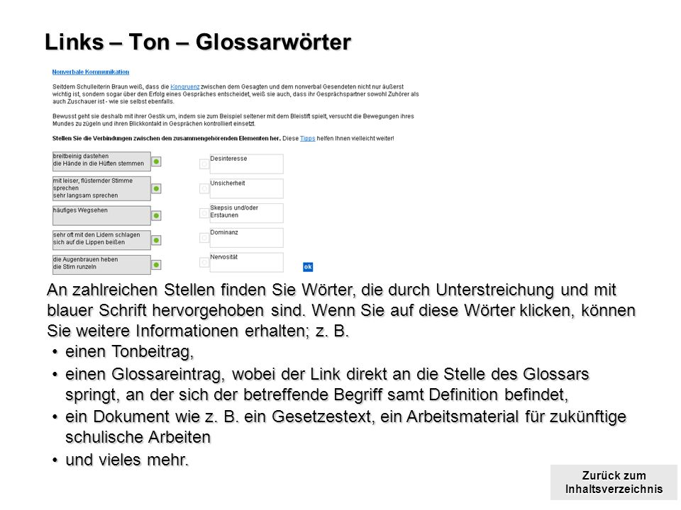 Links – Ton – Glossarwörter