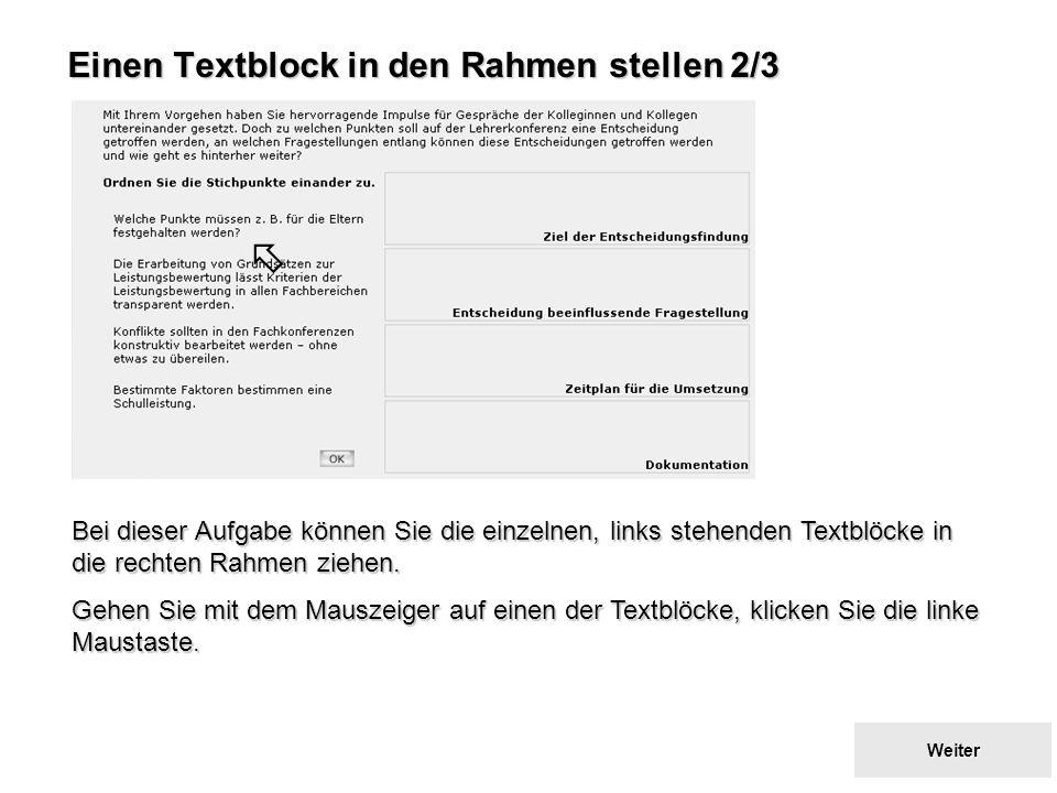 Einen Textblock in den Rahmen stellen 2/3