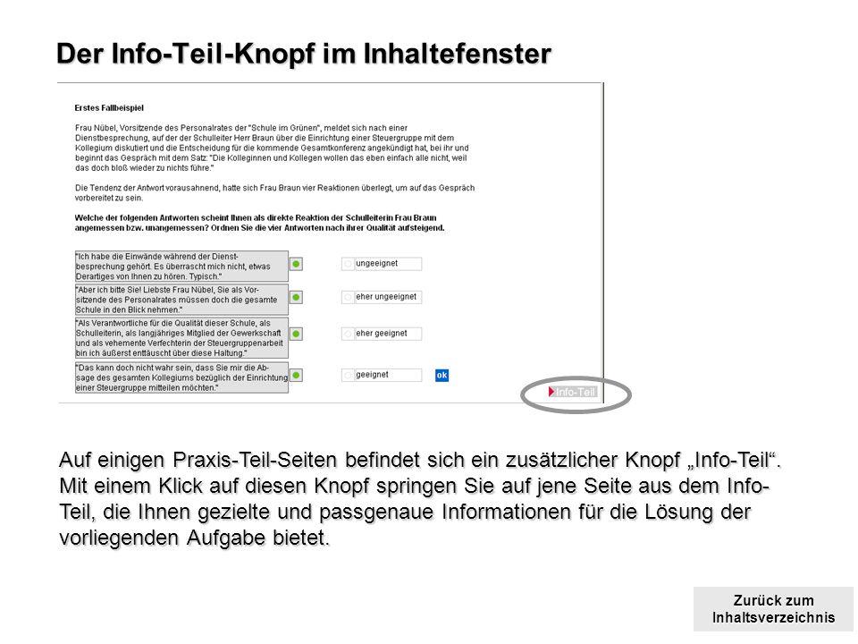 Der Info-Teil-Knopf im Inhaltefenster