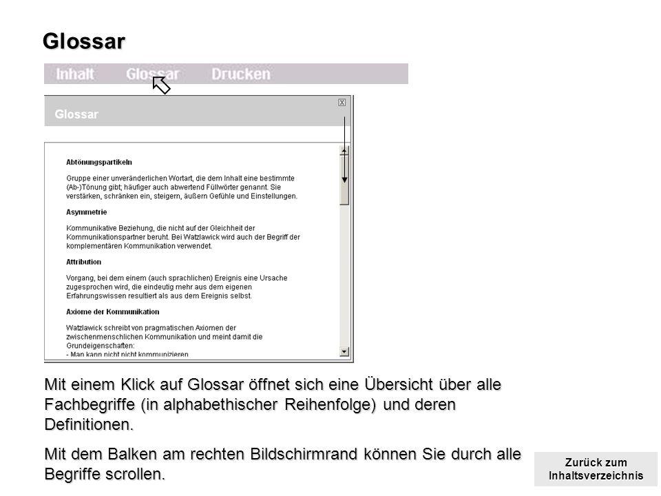 Glossar  Mit einem Klick auf Glossar öffnet sich eine Übersicht über alle Fachbegriffe (in alphabethischer Reihenfolge) und deren Definitionen.