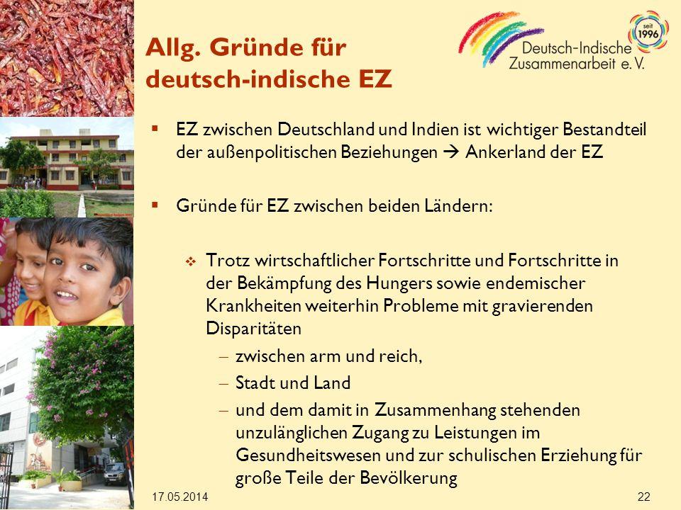 Allg. Gründe für deutsch-indische EZ
