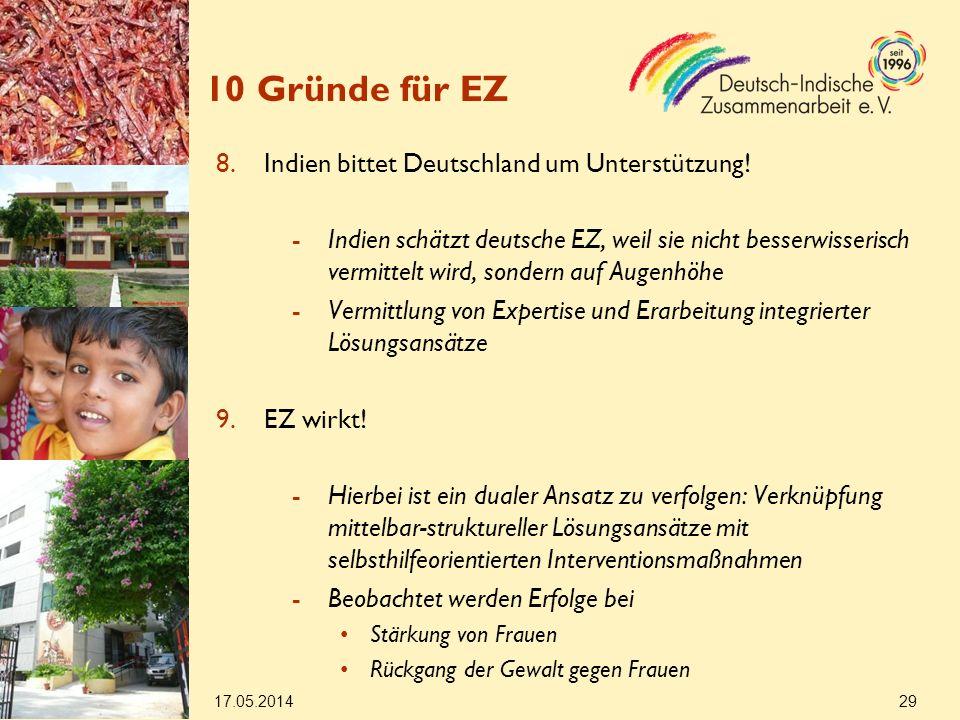 10 Gründe für EZ Indien bittet Deutschland um Unterstützung!