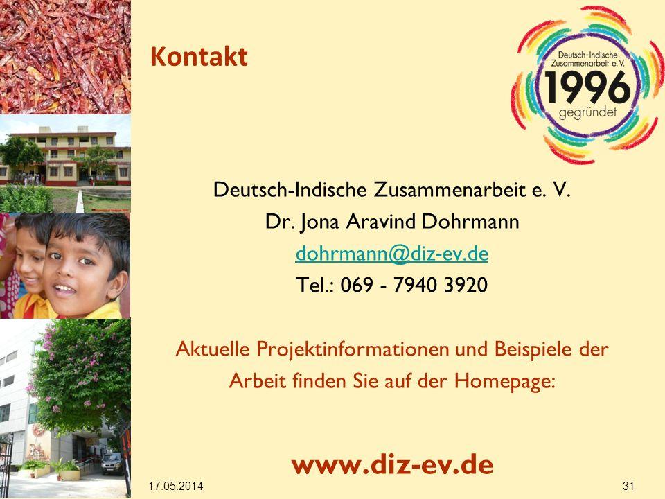 Kontakt www.diz-ev.de Deutsch-Indische Zusammenarbeit e. V.