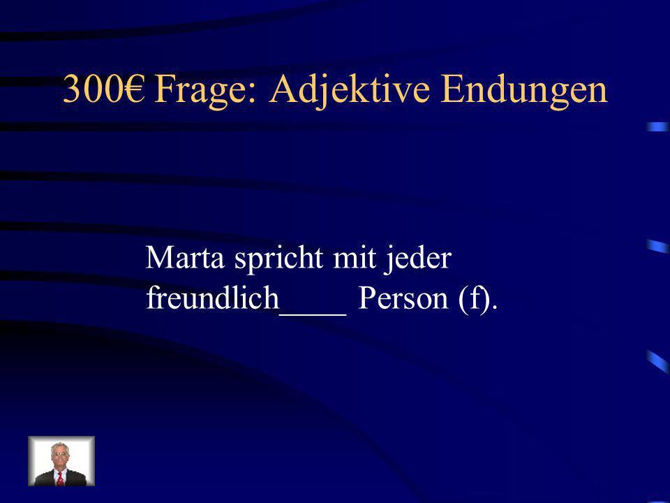 300€ Frage: Adjektive Endungen