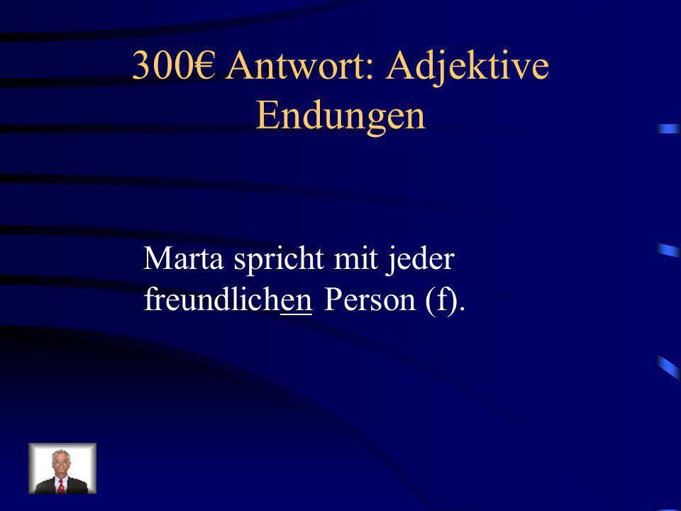 300€ Antwort: Adjektive Endungen