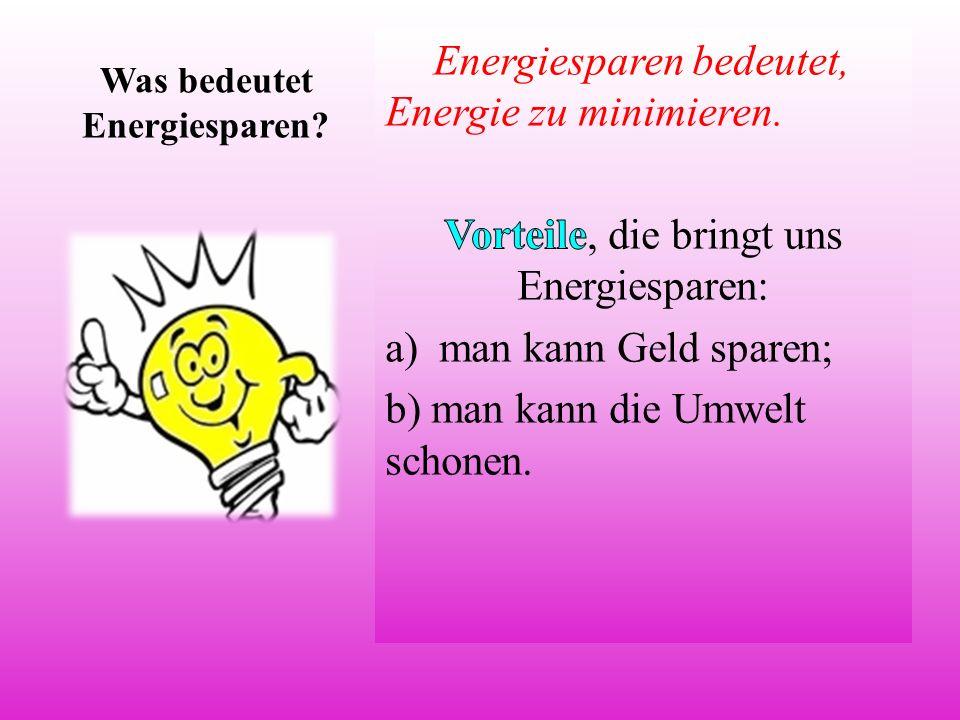 Was bedeutet Energiesparen