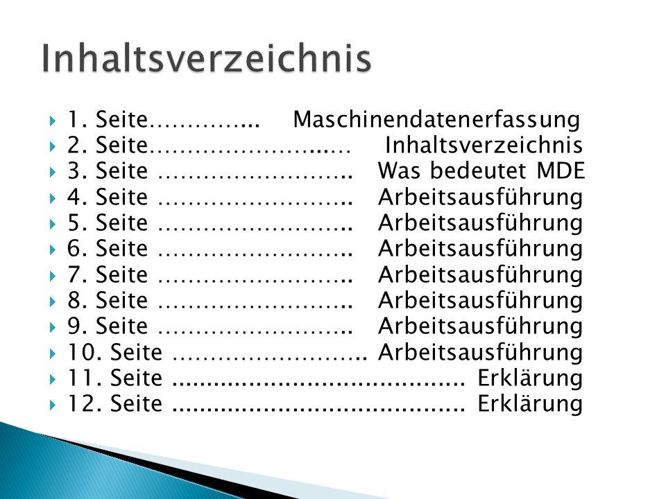Inhaltsverzeichnis 1. Seite…………... Maschinendatenerfassung