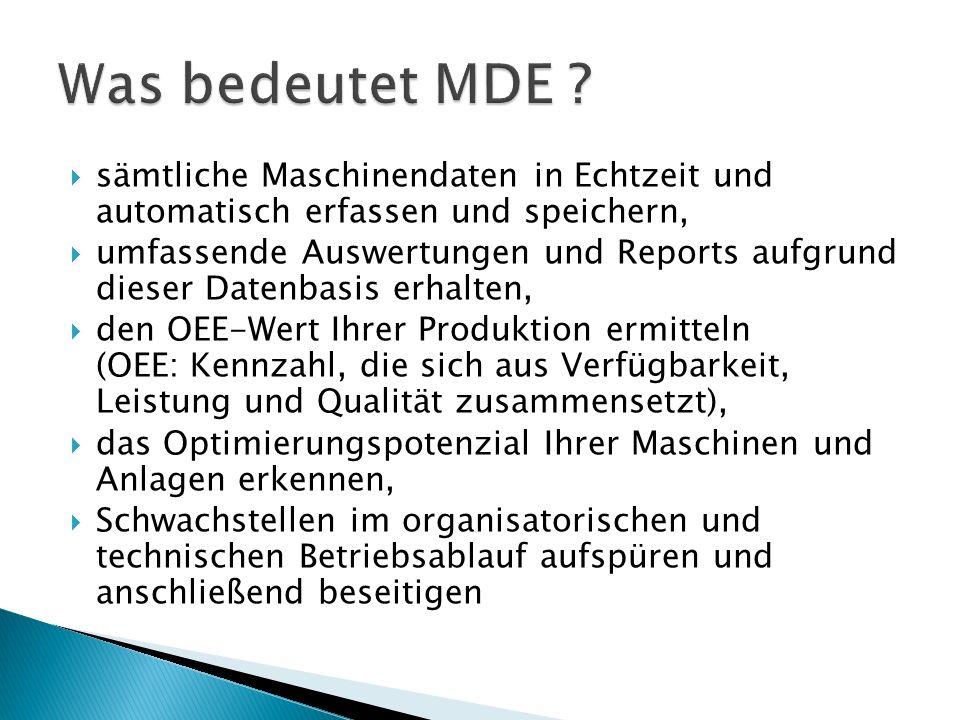 Was bedeutet MDE sämtliche Maschinendaten in Echtzeit und automatisch erfassen und speichern,