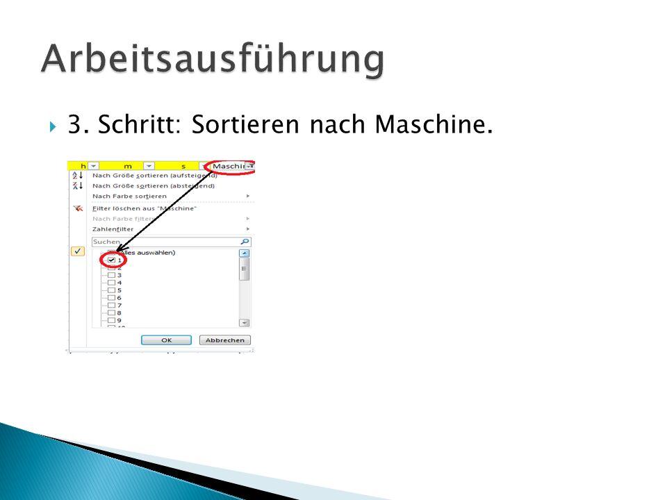 Arbeitsausführung 3. Schritt: Sortieren nach Maschine.