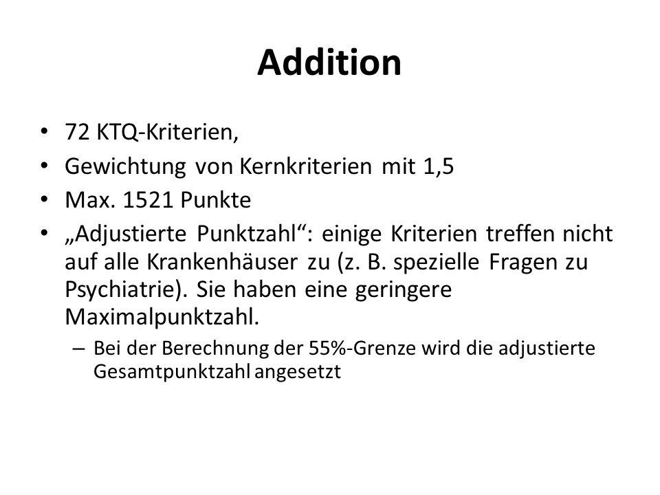 Addition 72 KTQ-Kriterien, Gewichtung von Kernkriterien mit 1,5