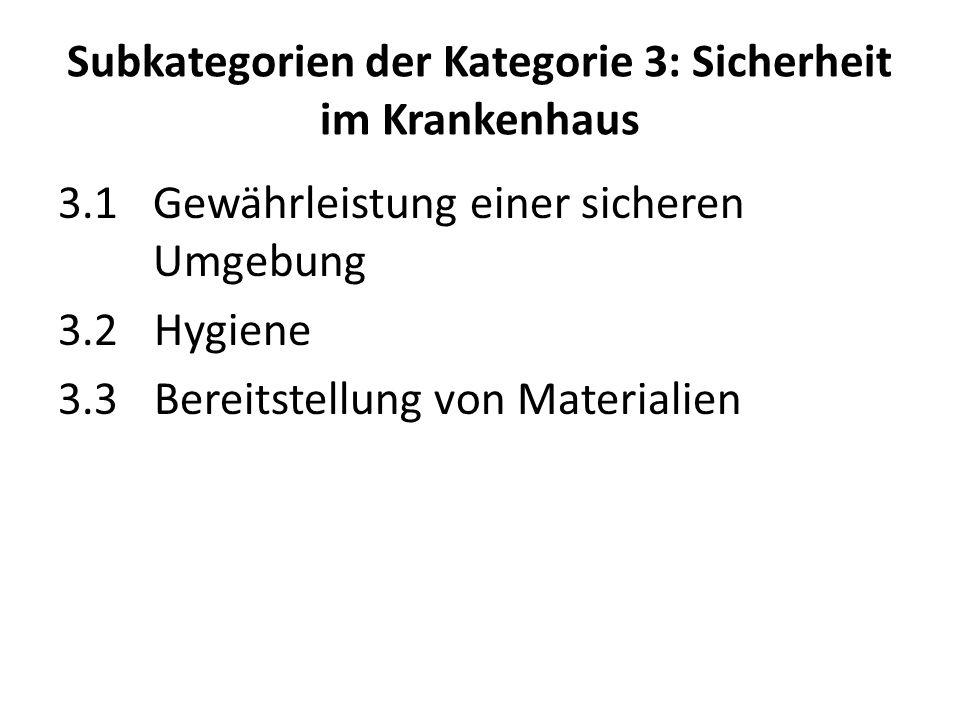 Subkategorien der Kategorie 3: Sicherheit im Krankenhaus